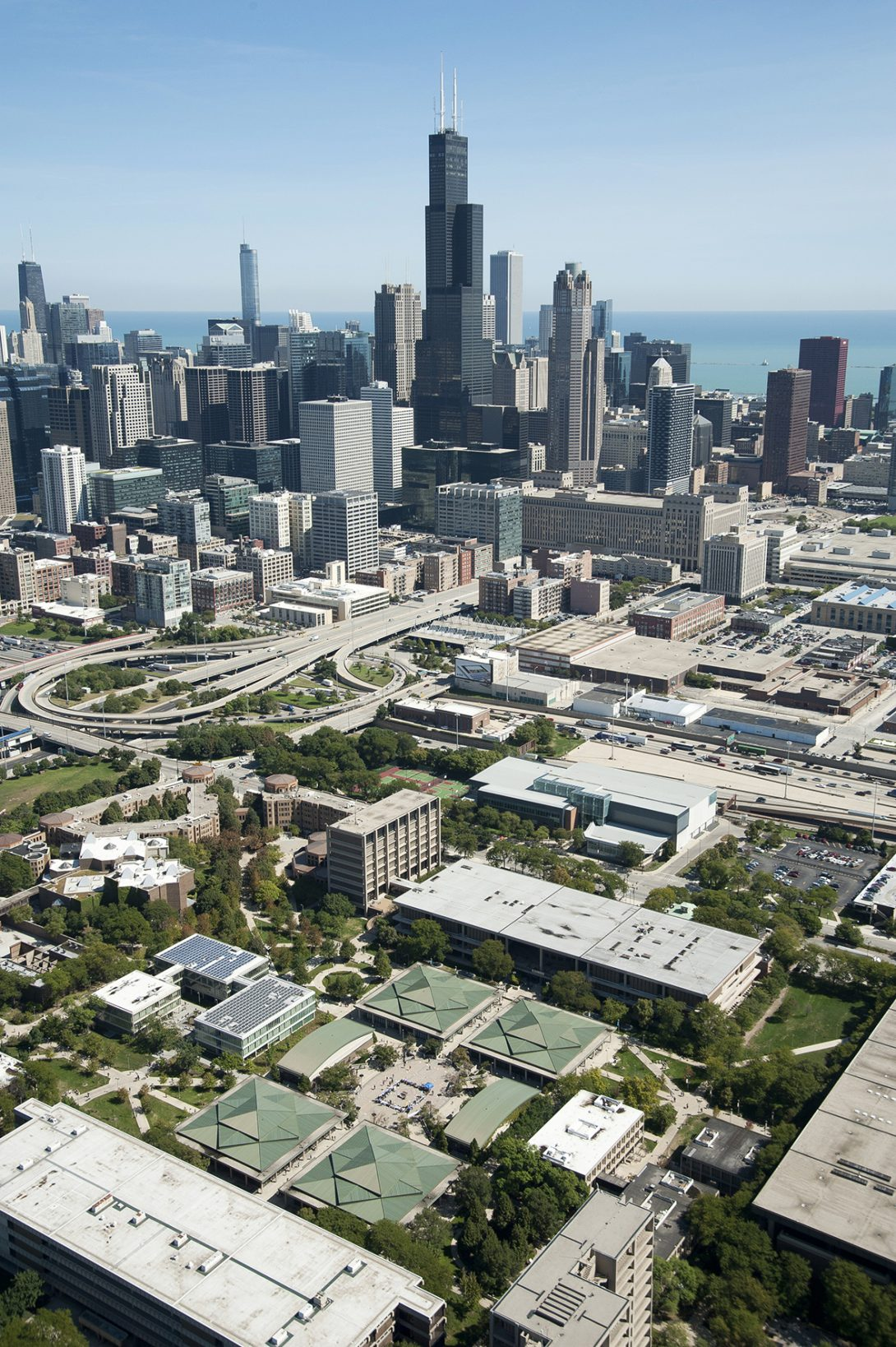 Aerial view of UIC and Chicago Skyline