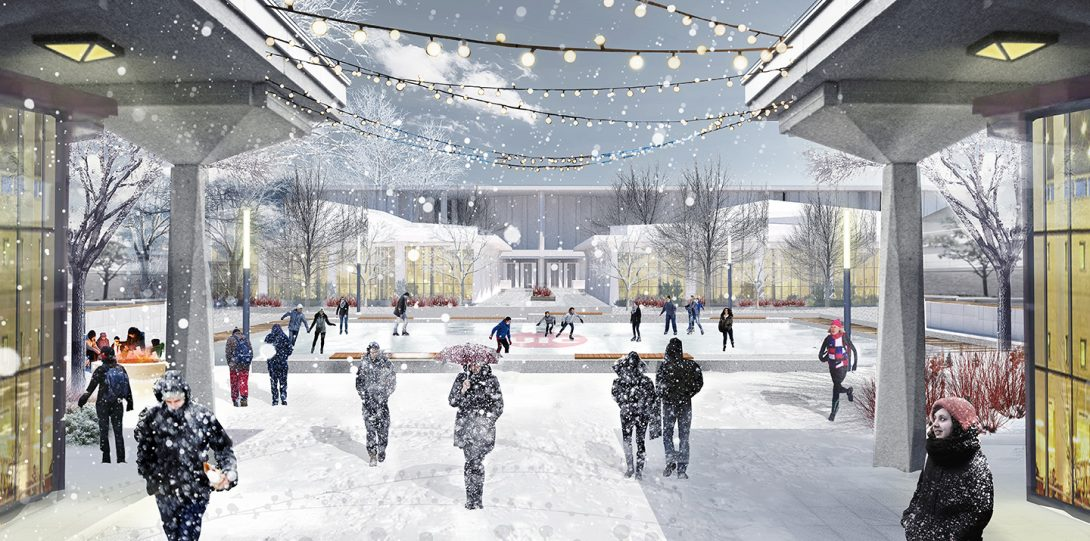 Rendering of East Campus Quad in winter