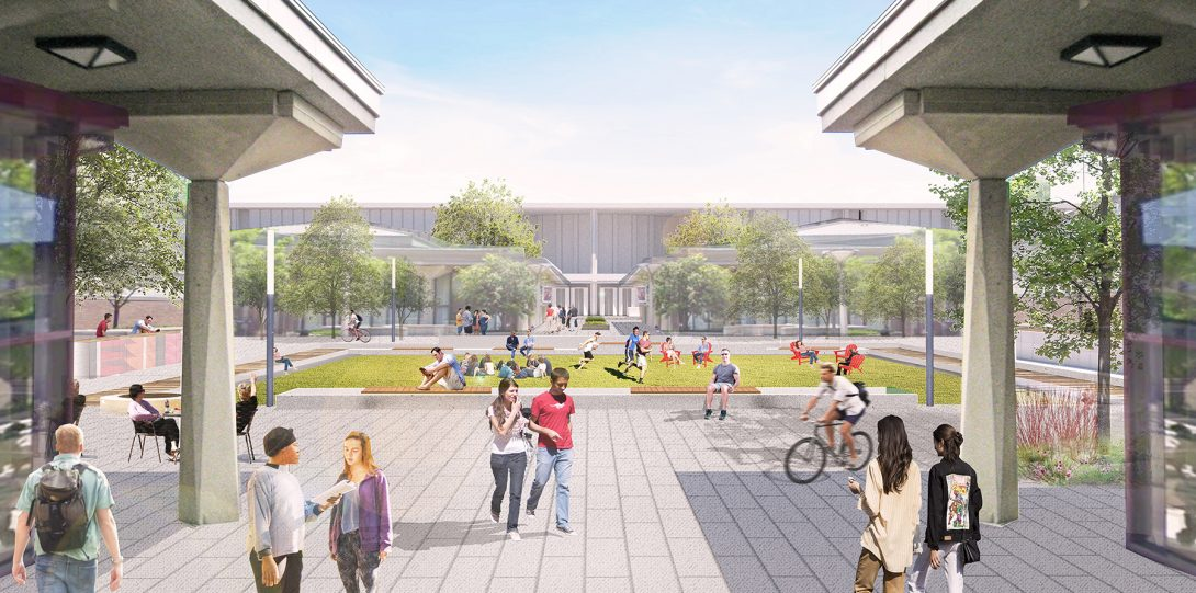 Rendering of East Campus Quad in summer